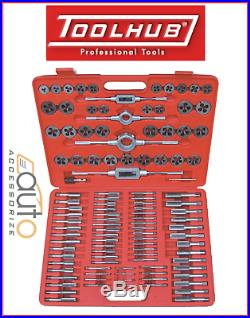 110 Piece Metric Tap Wrench & Split Die Set Fine Coarse & Case Tool Hub 9162