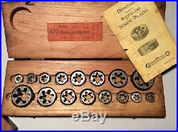 2 Vintage Greenfield Tap And Die Sets in Original Wooden Cases with Paperwork