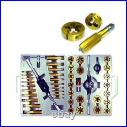 45pc Titanium Tap & Die Set MM Metric Tungsten Steel Repair Stripped Threads Set