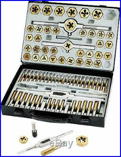 86pc Tap and Die Combination Set Tungsten Bearing Steel Titanium Coated SAE MM