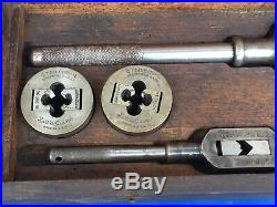 Antique Vintage Greenfield Little Giant 311 Screw Plate Tap Die Set & Wooden Box
