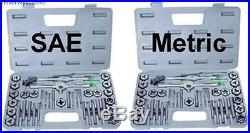 Complete Tap And Die Set 80 Piece SAE Metric Wrench Screwdrivers 2 Plastic Case