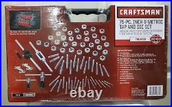 Craftsman 75 Pc Combination Tap & Die Carbon Steel Set SAE and Metric Case- NEW