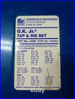 Greenfield Industries. Ok Jr. Tap, And Die Set No. 4700