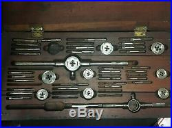Greenfield Tap & Die Set In Wooden Box Little Giant Tap Wrench Spanner