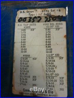 Greenfield U. S. Screw Threading Set #6 84 Piece Tap and Die Set Morse Tap & Die