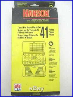 HANSON New 41 Piece Metric Tap & Die Set, 3mm to 12mm, Made in USA NOS 26317