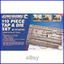 Kincrome 190822 Metric Nc Nf Tap & Die Set 110 Piece In Metal Case