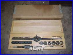 LARGE NOS CARD MFG No. 85 1/4 3/4 NC Tap & Die Set With Handles & Guides USA