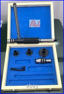 Lathe Tailstock Tap & Die Holder Kit MT3 Shank Threading Tapping Set Wooden Box