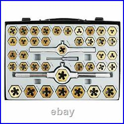 Muzerdo 86 Piece Tap and Die Set Bearing Steel Sae and Metric Tools, Titanium Co