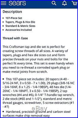 NEW Craftsman 107 pc SAE/MM Tap and Die Set & Case