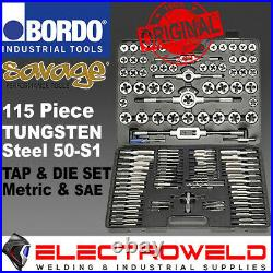 SAVAGE 115pce TAP AND DIE SET METRIC IMPERIAL SAE UNC/UNF TUNGSTEN BORDO 50-S1