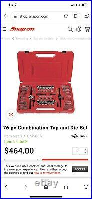Snap On 76 Piece Tap and Die Set