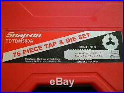 Snap-On TDTDM500A Metric & SAE Tap and Die Set in Case Like New