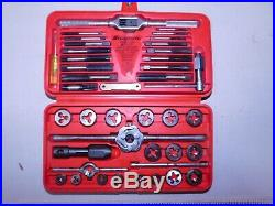 Snap-on Tools Automotive Metric Tap & Die Set In Red Case 41 Pc Tdm117a -(eb47)