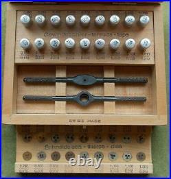 Very Rare Hard To Find Vintage Swiss Watchmaker Metric Tap & Die Complete Set