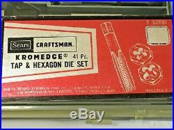 Vintage BARELY USED Craftsman #52091 Kromedge TAP & ADJUSTABLE DIE SET 40 Piece