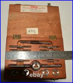 Vintage Boxed Set TOGA Stocks Dies and Taps British Standard Whitworth 1/8-1/4
