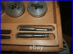 Vintage British Die & Tap Co Stronghold Set Wooden Box Holder Stock Whitworth
