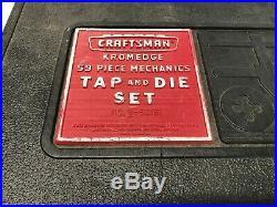Vintage Craftsman Kromedge 55pc Mechanics Tap & Die Set SAE #52151 USA Made