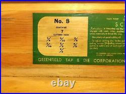 Vintage Greenfield Little Giant Adjustable Tap Die Screw Plate Set #8 Wooden Box