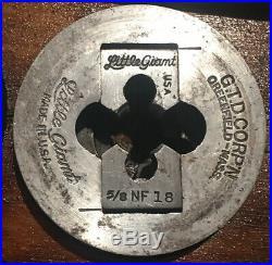 Vintage Greenfield Little Giant Tap & Die Screw Plate Set In Wooden Case