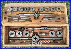 Vintage Greenfield Little Giant Tap & Die Set Wood Case 1/4-3/4 WithExtras