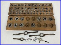 Vtg Mixed Lot (Greenfield GTD Little Giant Reece AMT & D)Tap Die Set & Wood Tray