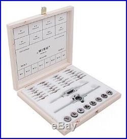 WIRU Tap & Die Set No. 1 Sizes 1.0, 1.2, 1.4, 1.7, 2.0, 2.3, 3.0mm with3 steps taps